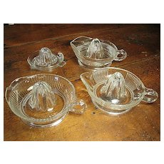 Grandma's Set of Four Retro Kitchen Vintage Glass Juicers