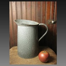 Beautiful Old Gray Graniteware Large Measure Pitcher