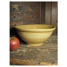 Grandma's Favorite Old Thick Yellowware Mixing Bowl w/ Four White Stripes