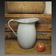 Granny's Large Old Farmhouse Kitchen Gray Graniteware Water Pitcher