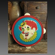 Child's Tin Toy Tambourine – Clown Decoration