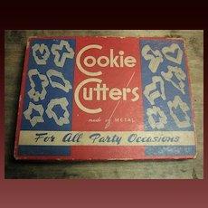Grandma's Old Vintage Cookie Cutter Set with Original Box