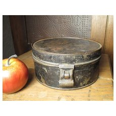 Great Granny's Early Old Primitive Farm Kitchen Round Tin Spice Set w. Six Tins and Latch