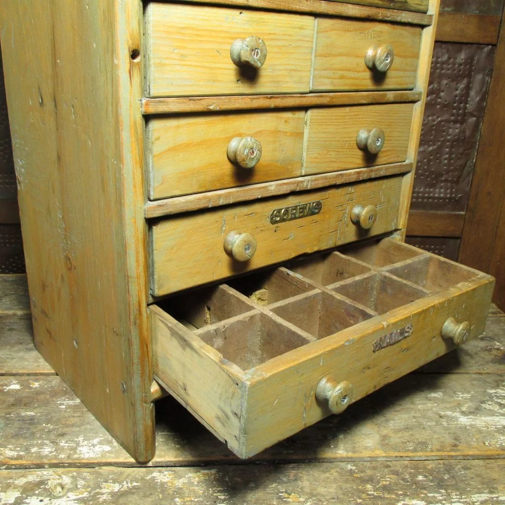 Wonderful Large Old Antique 8 Drawer Wooden Apothecary