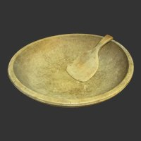 Early Old Antique Farm Kitchen Large Wooden Bowl and Paddle - Natural Patina