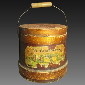 Fabulous Early Old Antique Wooden Firkin Sugar Bucket - Paper Label Remnants