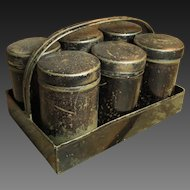 Wonderful Old Japaned Six Tin Spice Tin Set with Carrier