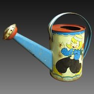 Charming Old Vintage Small Child's Watering Can w. Dutch Motif