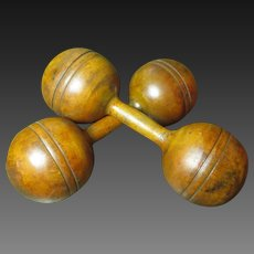 Superb Early Old Wooden One Pound Dumbbells Weights
