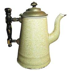 Uncommon Early Old Brown Sponge Mottled Graniteware Coffee Pot
