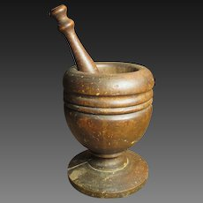 Great Granny's Favorite Early Old Wooden Mortar and Pestle