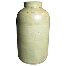 "Wonderful Old Primitive Small Size Salt Glaze Stoneware Jar - 7.5"" Tall"
