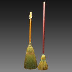 "Two Charming Old Small Brooms - One Hearth Broom and One Child's Broom ""Just Like Mom's"" - Keene, TX"
