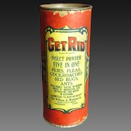 Early Old 'Get Rid' Insect Powder Advertising Tin - Memphis, Tennessee - Paper Label