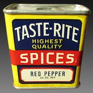 Gorgeous 1 1/4 oz. TASTE-RITE Spice Tin - Red Pepper - Cleveland, Ohio
