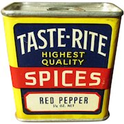 Gorgeous 1 1/4 oz. TASTE-RITE Spice Tin - Red Pepper - Cleveland, Ohio