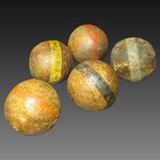Grandpa's Early Old Solid Wooden Croquet Balls - Set of Five
