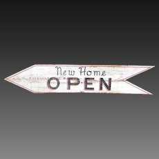 Cool Wooden Painted 'New Home Open' Open House Sign - 4 Feet Long