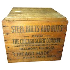 Steel Bolts and Nuts Wooden Advertising Box - The Chicago Screw Company, Bellwood Illinois