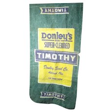 Early Old Vintage TIMOTHY Advertising Seed Bag - Donley Seed Co. - Ashland, Ohio