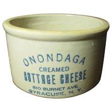 Gorgeous Old ONONDAGA Cottage Cheese Crock - Advertising - Syracuse, N.Y.
