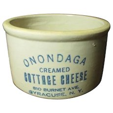 Gorgeous Old ONONDAGA Cottage Cheese Crock - Advertising - Syracuse, N.Y.