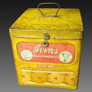 Early Old Vintage Yellow IVINS Biscuit Advertising Tin - Hinged, Latched Lid