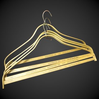 Awesome Old Vintage ANDERSON Co. Cleaners Wooden Advertising Clothes Hangers - Milwaukee