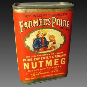 Awesome Old FARMER'S PRIDE Spice Tin - Nutmeg - Vivd Graphics