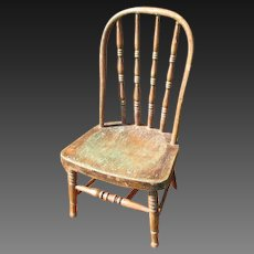 Fabulous Early Old Primitive Child's Chair w. Remnants of Old Paint