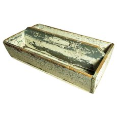 Great Grandma's Early Old Antique Crusty Painted Wooden Farmhouse Tote Knife Box - Old Blue & Cream Paint