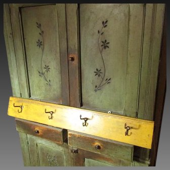 "41"" Vintage Wooden Coat/Hat Rack - 4 Hook - Mustard Paint"