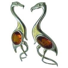 Vintage Sterling Silver Amber Flamingo Earrings