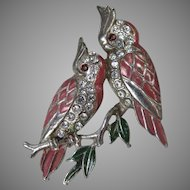 Vintage Unsigned Boucher Cockatoo Couple Brooch