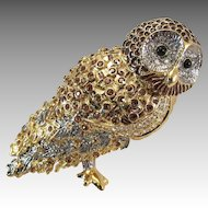 Vintage Nolan Miller Dynasty Owl Brooch with Rhinestones