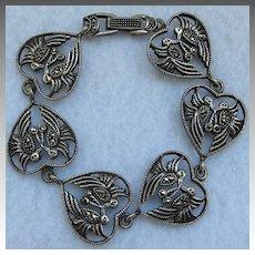 Vintage Sterling Silver Lovebird Heart Bracelet Marcasite