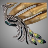 Art Deco Sterling Marcasite Paradise Peacock Brooch Large