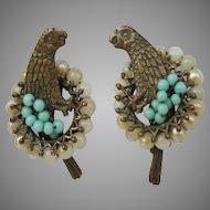 Antique Screw Back Parrot Earrings Faux Pearls