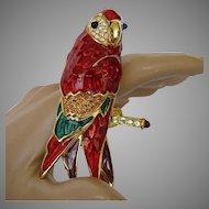 Vintage Bob Mackie Macaw Parrot Pin