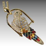 Vintage Nolan Miller Parrot Necklace Brooch Convertible