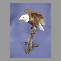 Vintage Royal Worcester Bone China and Bronze Bald Eagle