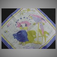Vintage Childrens Handkerchief Girl and Parrot