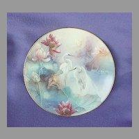 Vintage Lena Liu Wings of Snow Egrets Plate