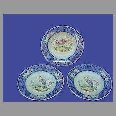 Antique Royal Doulton Flow Blue Soup Bowls Birds