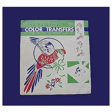 Vintage Color Parrot Transfers