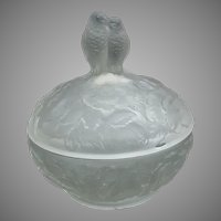 Vintage Depression Glass Parakeet Powder Jar