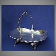 Victorian Antique Silver Plate Cake Basket Bird Motif
