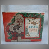 Vintage Rod and Gun Smoking Mixture Store Display Santa Claus