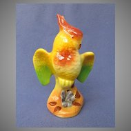 Colorful Royal Copley Cockatoo w/ Flower Figure