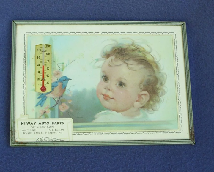 Vintage Baby and Bluebird Advertising Thermometer